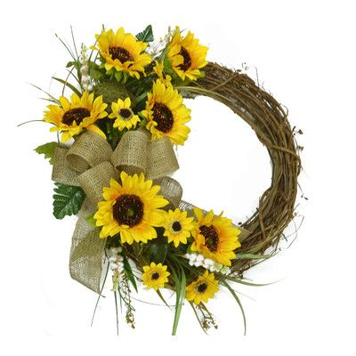 "Floral Home Decor 18"" Sunflower Wreath"
