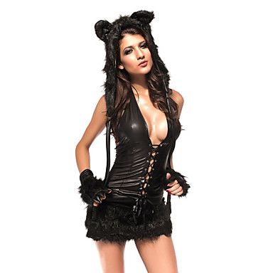 sexy fur tail cheshire cat black woman halloween costume5 pieces