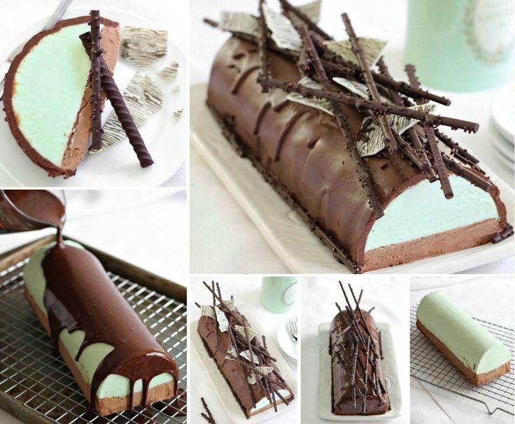 Mint Chocolate Cheesecake Yule Log