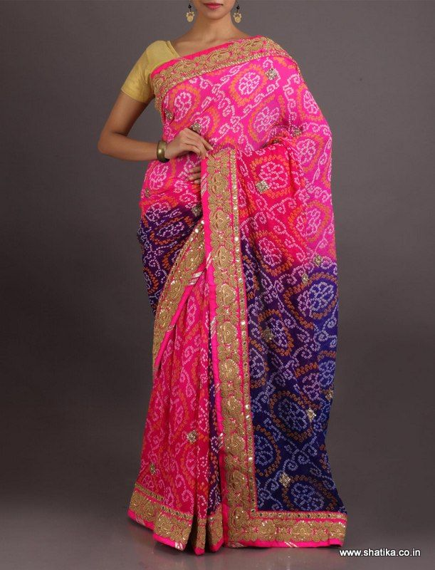Darshana Pink And Purple Gota Work Pure Crepe Chiffon #BandhejSaree