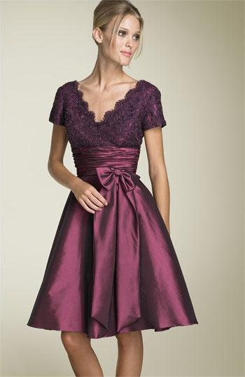 eggplant lace and taffeta dress