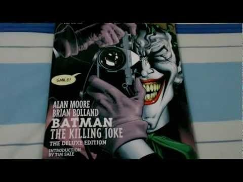"Batman: The Killing Joke - The Deluxe Edition.     Flipping through the pages of the Comic book ""The Killing Joke"" - The deluxe edition, by Alan Moore and Brian Bolland  DC Comics.    Legendary writer Alan Moore redefined the super-hero with WATCHMEN and V FOR VENDETTA. In BATMAN: THE KILLING JOKE, he takes on the origin of comics´ greatest super-villain, The Joker - and changes Batman´s world forever."
