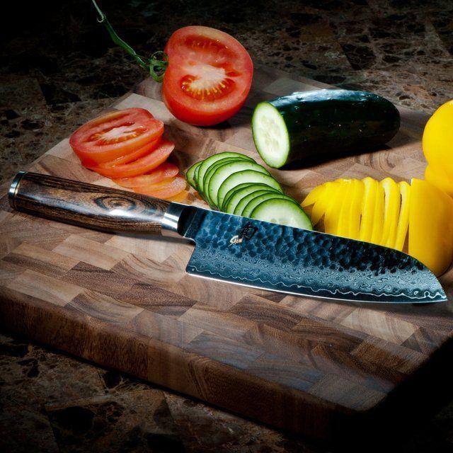fancy shun premier hollow edge santoku knife - Shun Cutlery
