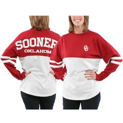Women's Oklahoma Sooners Crimson Varsity Sweeper Long Sleeve Jersey Top