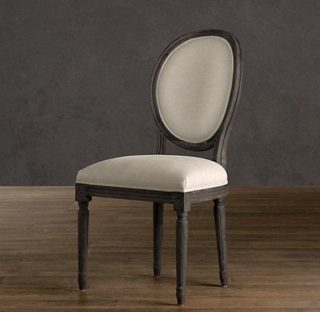 Vintage French Round Upholstered Side Chair Dark Oak Upholstered Chairs R