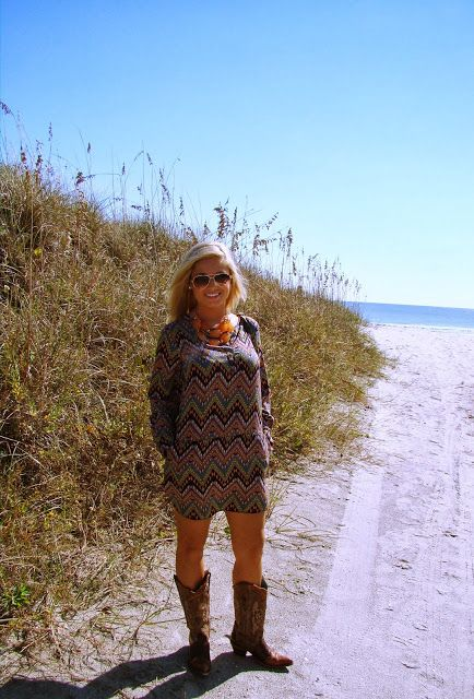 Chevron-Aztec Dress | Orange Necklace | Cowgirl boots | Old Gringo/Corral | Louis Vuitton | Beach | Blogger: The Retail Therapist