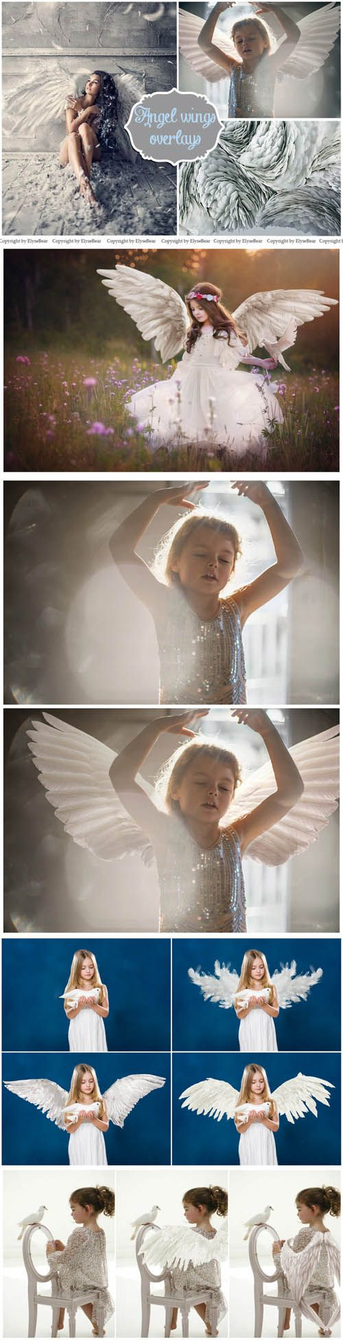 15 White Angel Wings Overlays PNG » Vector, PSD Flyers, Templates, After Effects, Fonts, Web Design