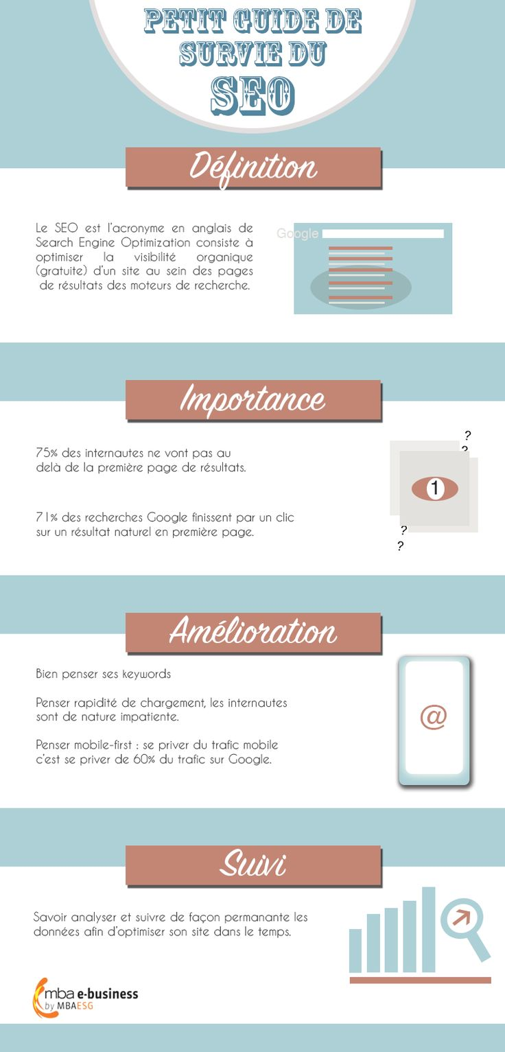 Infographie tips SEO - Search Engine Optimization - organic traffic - Digital Marketing - E-business -#mbaesg #mbaesgebusiness