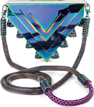 Pyramid Handbag.  Eddie Borgo, who's famous for creating spiked and studded jewelry, is now starting to create handbags.  This handbag has a geometric shape, which goes along with the geometric patterns that can be seen in formal wear.  Emma Johnson.