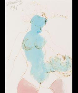"""""""Soulève tes paupières, Iokanaan!"""" Gesigneerd en gedateerd '96 l.b. Geannoteerd Salomé r.b. Aquarel en inkt op papier, 15.5 x 10.5 cm"""