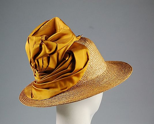 Straw, silk, and cotton hat by L.P. Hollander & Co. Boston, 1915. Via The Metropolitan Museum of Art. #Edwardian #vintage #hats