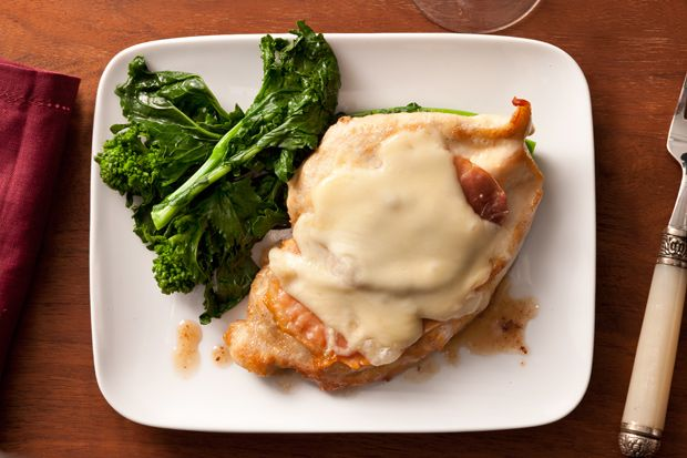 Pollo alla Valdostana (Chicken with Prosciutto and Fontina Cheese) - This dish from the Val d'Aosta region of northern Italy combines three local ingredients: white wine, prosciutto, and fontina cheese.