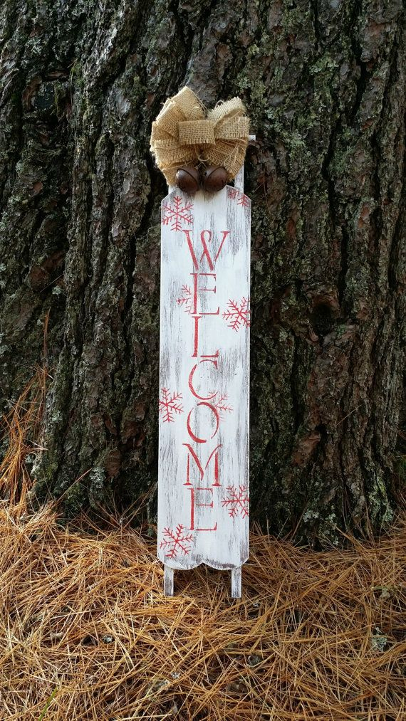 Distressed Wooden Sleigh Welcome Sign With Snowflakes And