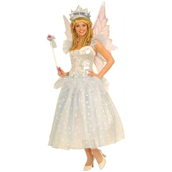 Tooth Fairy Adult (210 RON) ❤ liked on Polyvore featuring costumes, halloween costumes, adult costumes, white fairy costume, tooth fairy costume, white party costumes and white wig costume
