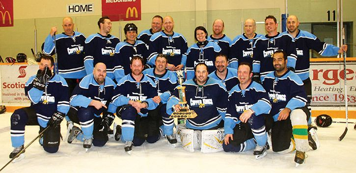 The Gibraltar Copper Kings' Travis Murphy (back from left), Glenn Sidwell, Sherman Mack, Kelly Carson, Sam Bergman, Christy Smith, James Top Shelf Hagerty, Bill Chestnut, Brian Bingham, Mark Chestnut, Justin Breton (front from left), Ryan Chestnut, Ben Pierce, Steve O'Hara, Darcy Edinger, Tim Lloyd, Rollie Doucette and Rob Gill celebrate their Inter Mill Hockey League championships victory Sunday.