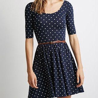 #744 Polka Dot Print Dress with Belt