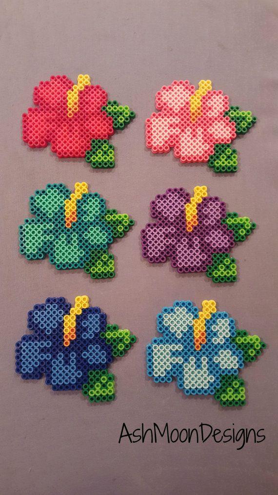 Perler Bead Hibiscus Flowers by AshMoonDesigns on Etsy
