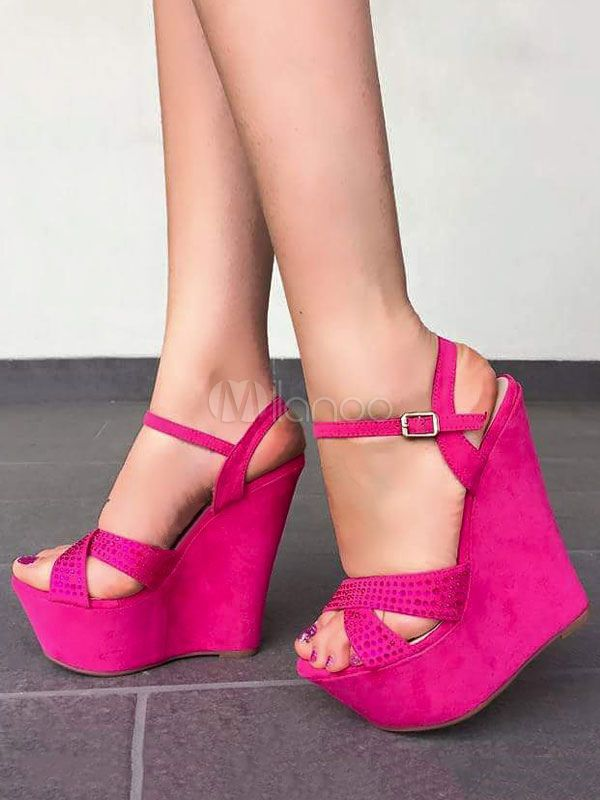 cf8f4ef3f34 Women Shoes Fuchsia Wedge Sandals Platform Open Toe Buckle Detail Sandal  Shoes