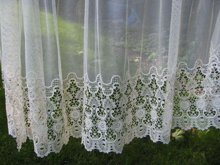 Victorian Schiffli Guipure Lace Curtain Net Panel Lot 2