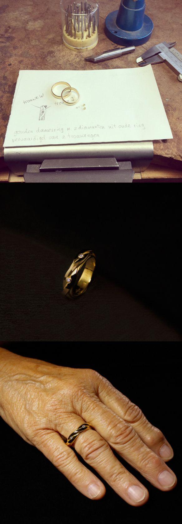 Het eindresultaat van een gouden damesring met 2x diamant vervaardigd van 2 trouwringen. #goudsmidmetpassie #herinneringen #herinneringsring #herdenkingssieraden #omdatikjemis