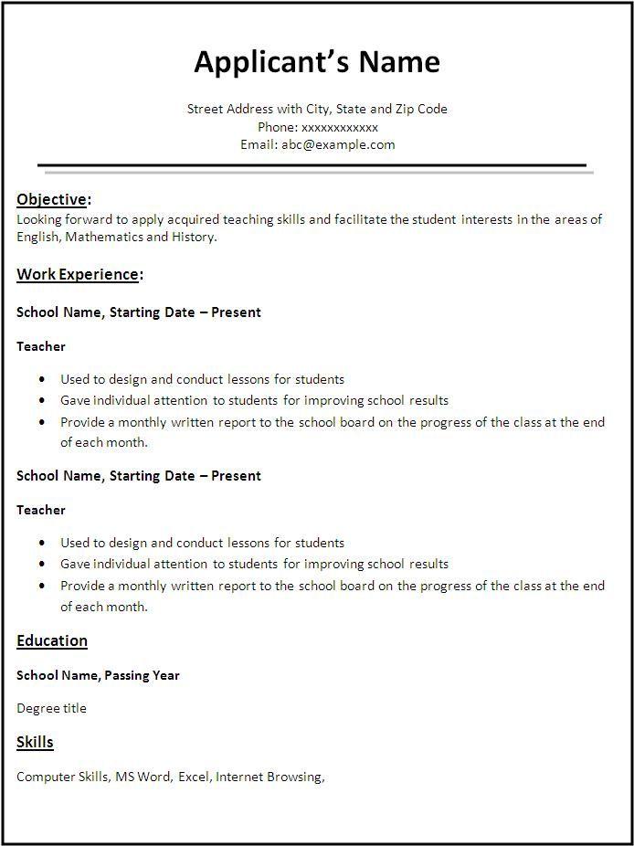 6 Teacher Resume Templates Teacher Resume Template Job Resume