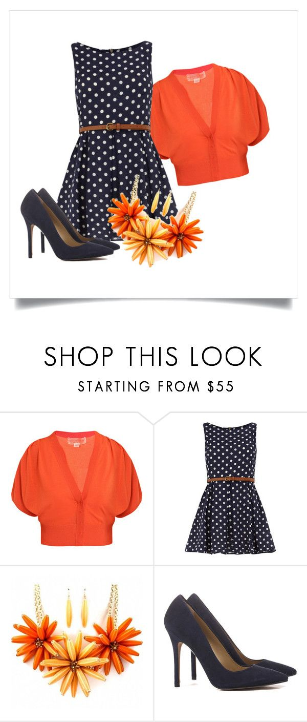 """Navy Polka Dot Dress"" by jodie-williams-borgerding ❤ liked on Polyvore featuring Giambattista Valli, Dorothy Perkins and Fantasy Jewelry Box"