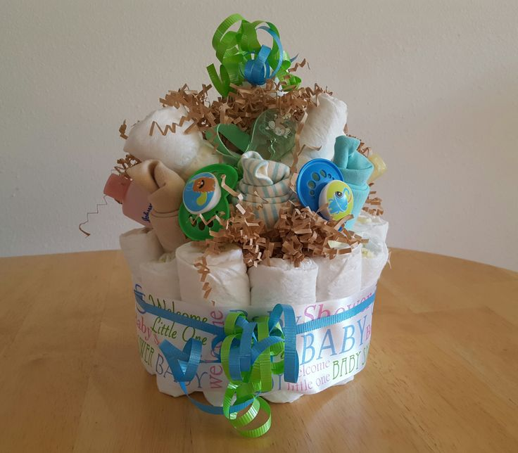 Check out this adorable diaper cake to give at a shower or after baby is born!