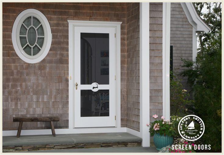 Wooden screen doors seaport shutter cottage style for Wood storm doors