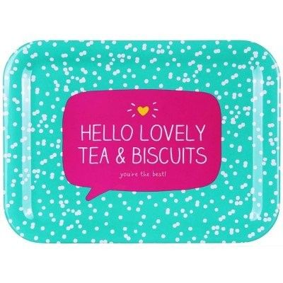 Happy Jackson Melamine Tea Tray - Hello Lovely Tea & Biscuits You're The Best!