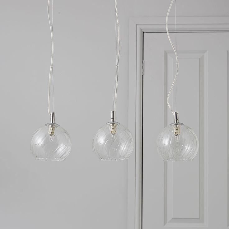 Swirl Embossed Glass 3 Lamp Pendant Ceiling Light | Departments | DIY at B&Q