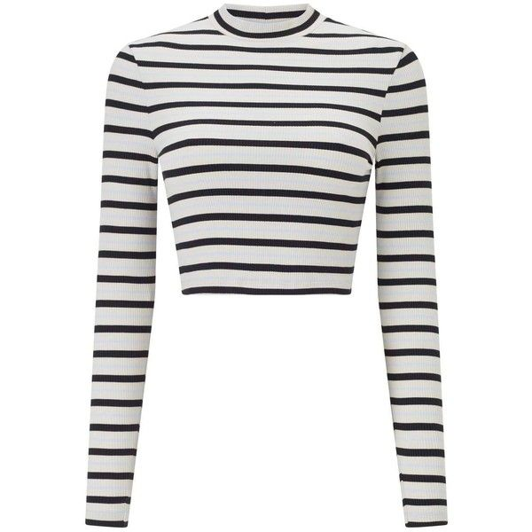 Miss Selfridge Striped Funnel Neck Top ($27) ❤ liked on Polyvore featuring tops, assorted, striped top, long sleeve tops, white long sleeve top, crop top and cut-out crop tops