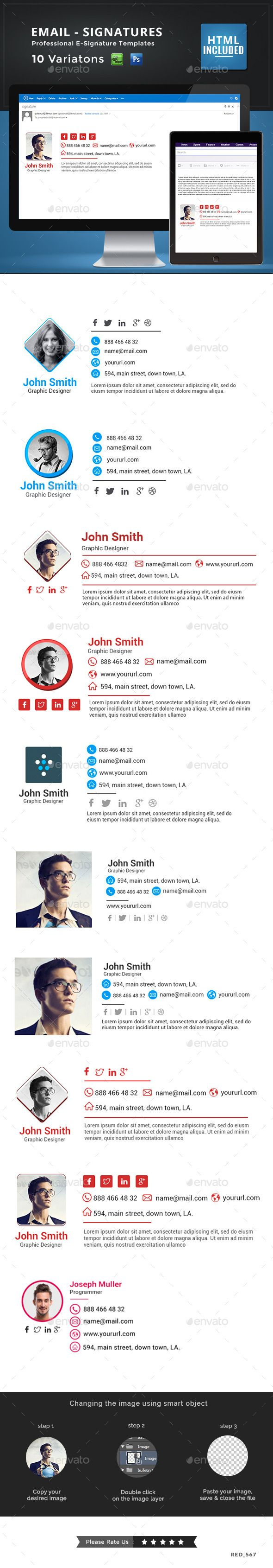 10 Email Signature Templates - HTML Files Included - Miscellaneous Web Elements                                                                                                                                                                                 Más