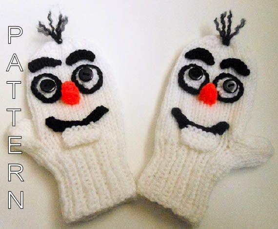 Knitting Pattern - Snowman Mittens, animal mittens, character mittens, gloves