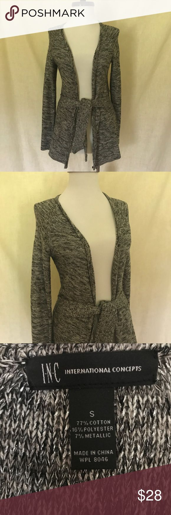 INC international Concepts Metallic Cardigan Wrap Worn maybe one time!  Great piece!  Metallic material throughout. Ties.   Sz Small Retail $69  I bundle, just ask! INC International Concepts Sweaters Cardigans