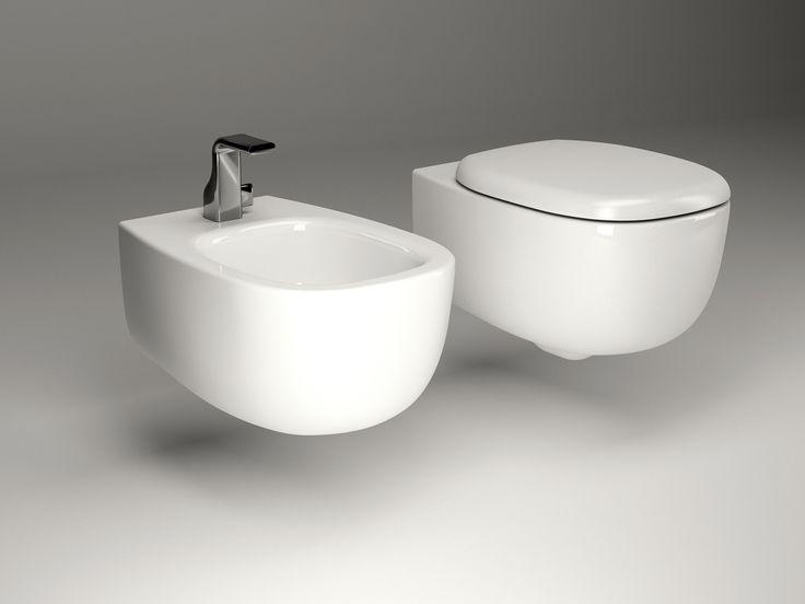 Bidet sospeso in ceramica Linea Bonola by CERAMICA FLAMINIA | design Jasper Morrison