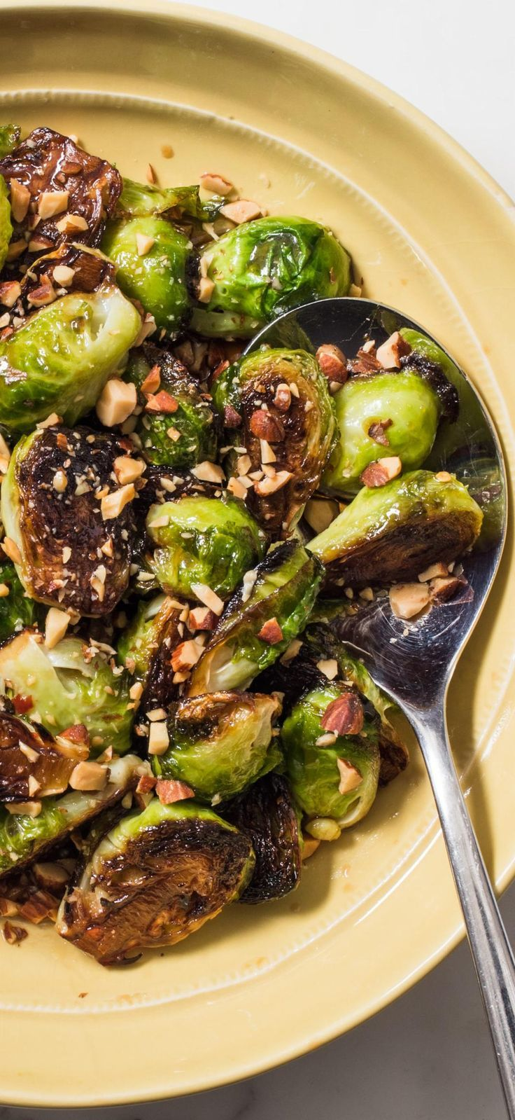 Skillet-Roasted Brussels Sprouts with Maple Syrup and Smoked Almonds. Brussels s…   – veggies
