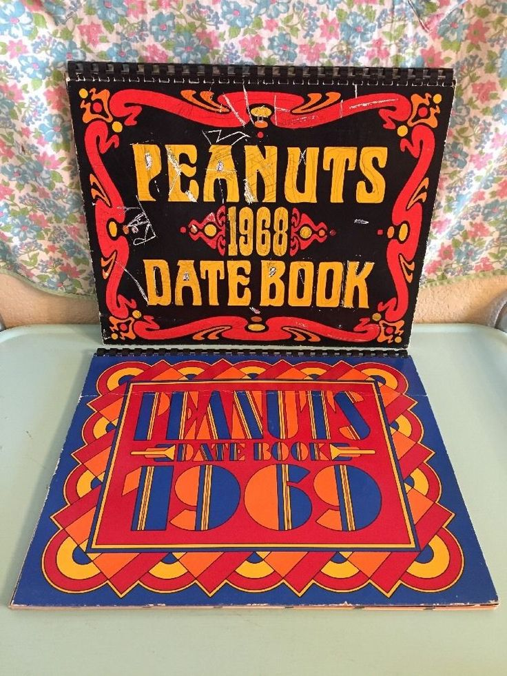 Vintage Peanuts Date Books 1968 1969 Snoopy Pictures Calendars  | eBay