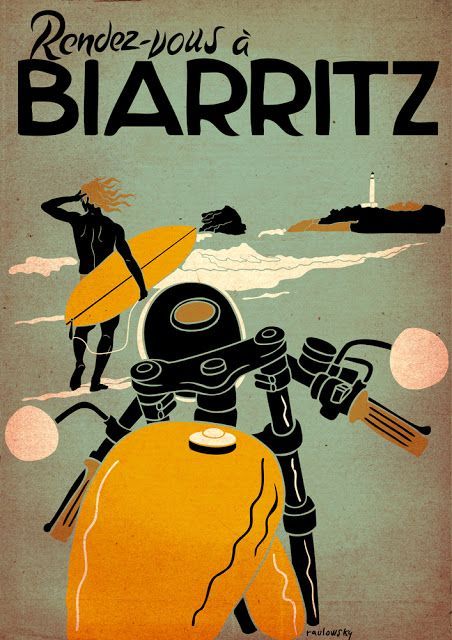 Biarritz by Raulowsky  Corb Motorcycles  I surfed here when I lived in Spain long ago. <3