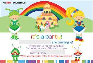 Rainbow Brite Party invite