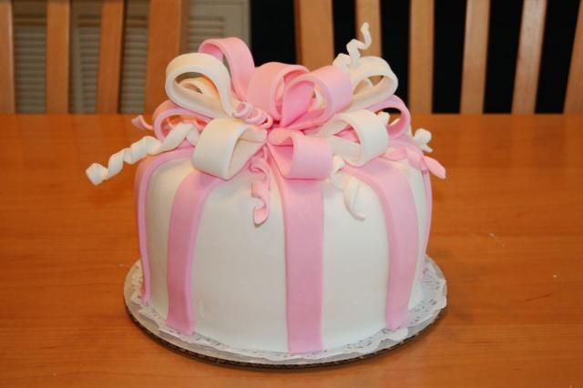 Pink Baby Shower Cakes | White and pink modern Baby Shower Cake.jpg
