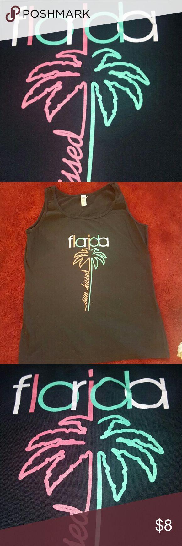 BOG2HALF 💥NEON FLORIDA TANK - BLACK Comfy Clothes 💥  TANK  Black Sun Kissed - Florida in neon colors  Ladies XL Gildan SoftStyle Tops Tank Tops