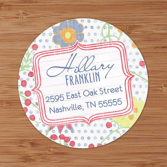 Dotted Floral Custom Return Address Labels or Stickers by PoshGirlBoutique