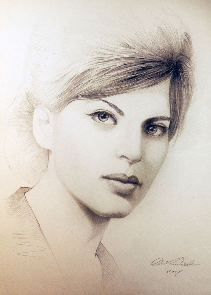 Éva Vermes portrait 1964 - pencil drawing