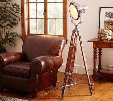 Surveyor's Spotlight Floor Lamp #potterybarn: Floor Lamps, Spotlight Floors, Potterybarn, Tripod Lamps, Surveyor Spotlight, Metals Tables, Spots Lights, Floors Lamps, Pottery Barns