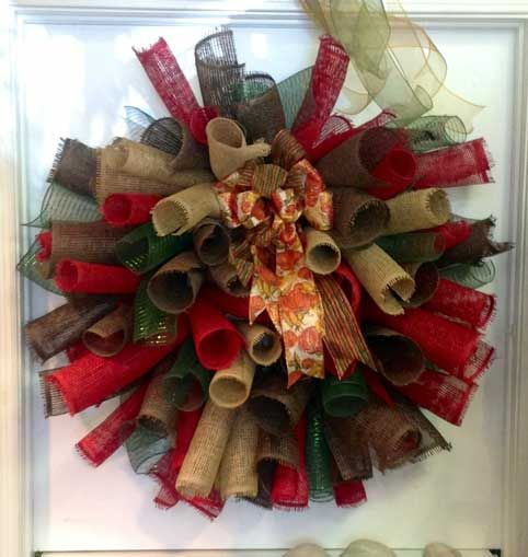 Burlap and mesh curly fall wreath...#carolescollections
