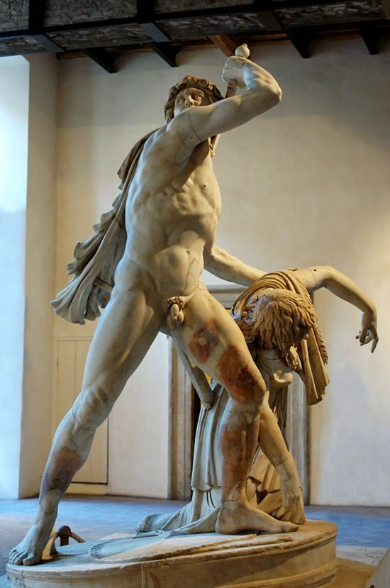 Gaul Killing Himself and His Wife (also known as the Ludovisi Gaul or the Galatian Suicide). Roman copy (dating to the 2nd century AD) of a Hellenistic original c 23020BC commissioned by Attalus I after his victories over the Galatians.