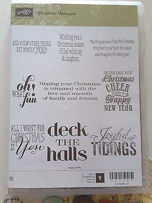 CHRISTMAS-MESSAGES-Stampin-039-Up-9-pc-Clearmount-Rubber-Stamps