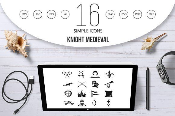 Knight Medieval Icons Set Simple Icon Set Card Templates Icon