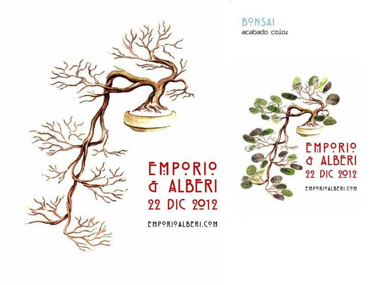 Bonsai. Menos de 40 huellas. Cuadro de huellas / Árbol de huellas www.emporioalberi.com