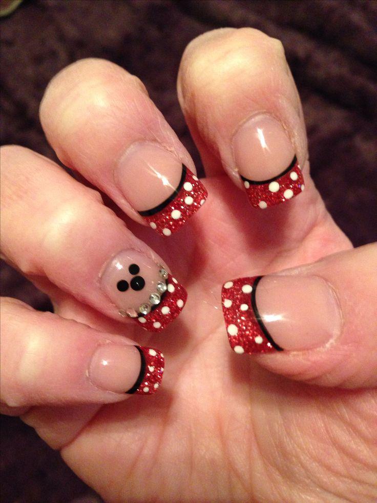 Disney nails.. Red tip w/ white polka dot.